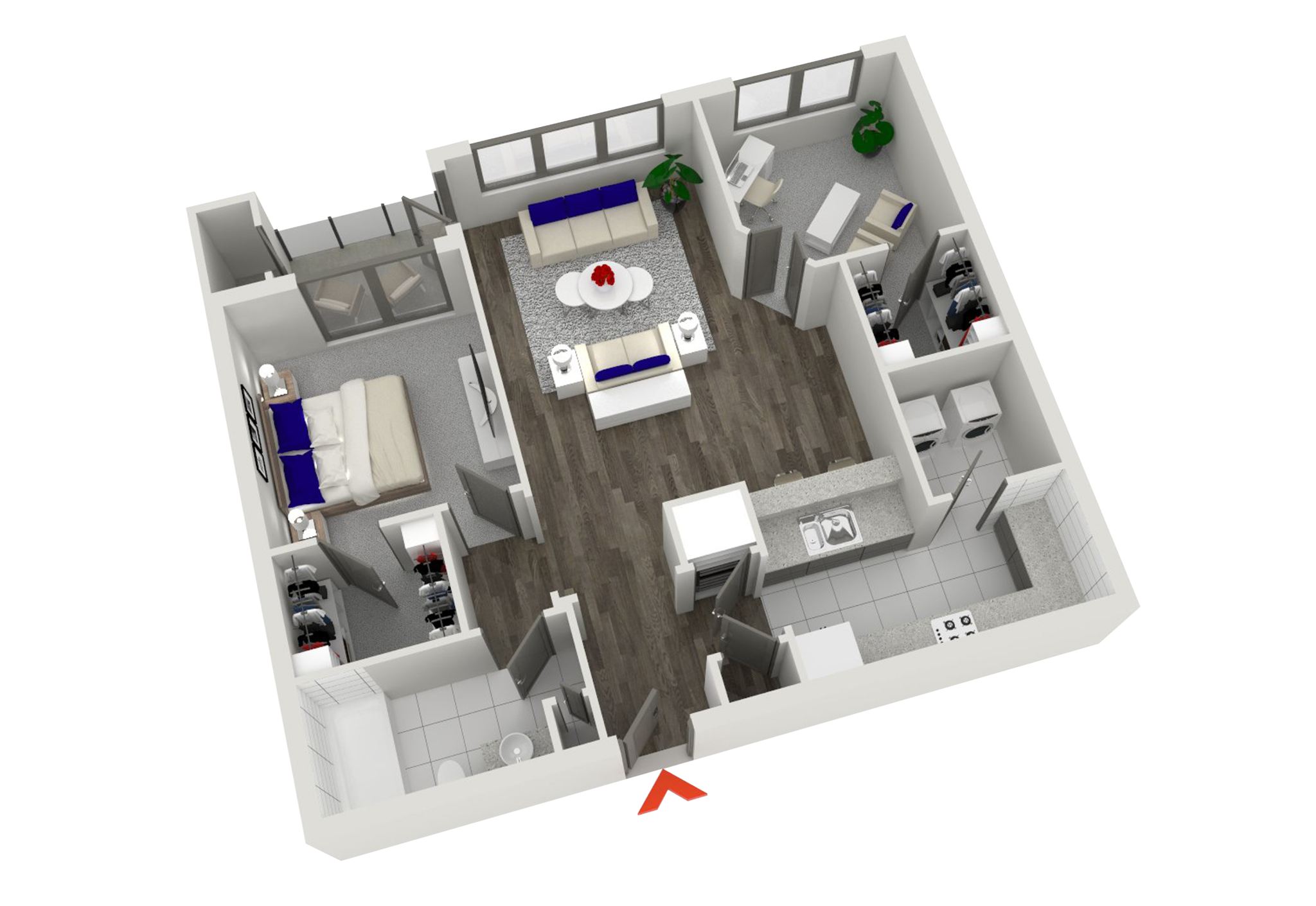 Awesome 1 bedroom apartment floor plans gallery for Walk up apartment floor plans